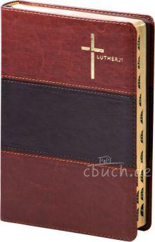 Luther21 - Standardausgabe - Kunstleder - braun/schwarz/braun - Goldschnitt mit Griffregister