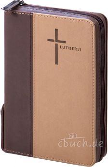 Luther21 - Luther21 - Taschenausgabe - Kunstleder Cowboy - braun/beige- Goldschnitt mit Griffregister - Reißverschluss