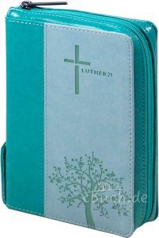 Luther21 - Taschenausgabe - Kunstleder grün/helltürkis - Silberschnitt mit Griffregister - Reißverschluss