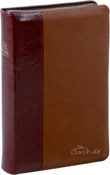 Elberfelder Bibel Edition CSV - größere Taschenbibel, Kunstleder, braun, Reißverschluss