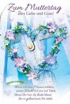 Faltkarte Faltkarte zum Muttertag - Blumenherz. Doppelkarte zum Muttertag mit Gedicht.