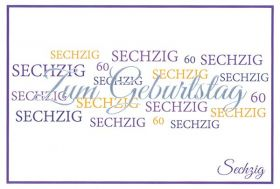 Christliche Faltkarte zum 60. Geburtstag - lila. Doppelkarte zum Geburtstag mit Bibeltext