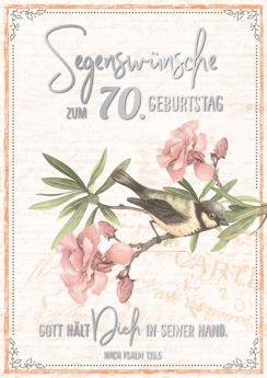 Faltkarte zum 70. Geburtstag - Vogel auf Zweig