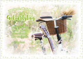 Doppelkarte Hut auf Fahrradlenker - Zum Geburtstag