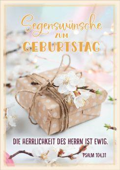 Doppelkarte Päckchen mit Kirschblüten - zum Geburtstag