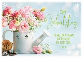 Doppelkarte Rosenstrauß in Gießkanne - Zum Geburtstag