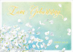 Doppelkarte Weiße Blüten - Geburtstag