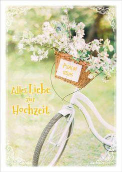 Doppelkarte Weißes Fahrrad mit Korb - Zur Hochzeit