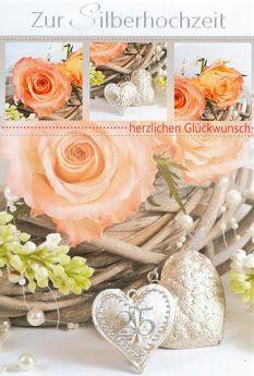 Faltkarte zur Silberhochzeit - Silberne Herzen