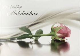 Faltkarte Rosa Rose - Trauer
