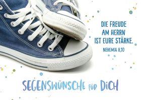Doppelkarte Bibl. Unterreicht Blaue Sneakers