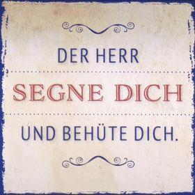 Metalltafel - Der Herr segne dich. Edle Tafel im Vintagestil mit Zitat. Mit Aluaufsteller und Kuvert.