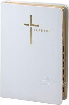 Luther21 - Standardausgabe - Lederfaserstoff - weiß - Goldschnitt mit Griffregister