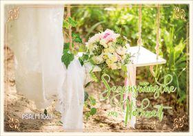 Doppelkarte Brautstrauß auf Schaukel - Zur Hochzeit