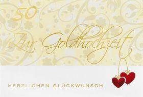 Christliche Faltkarte zur Goldhochzeit - 50 Jahre. Doppelkarte zur Goldhochzeit mit Bibeltext.