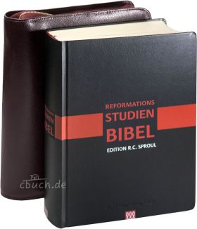 Reformations-Studien-Bibel 2017 schwarz, Cabra-Leder mit Bibelhülle (weinrot)