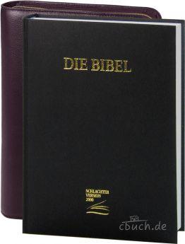 Schlachter 2000 Großdruckausgabe mit Bibelhülle (weinrot)