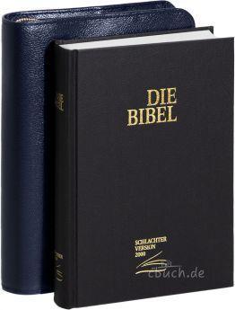Schlachter 2000 Taschenausgabe schwarz mit Bibelhülle Rindleder-Smart (blau)
