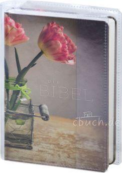 """Schlachter 2000 Taschenausgabe """"Tulpen"""" mit Klarsicht-Bibelhülle"""