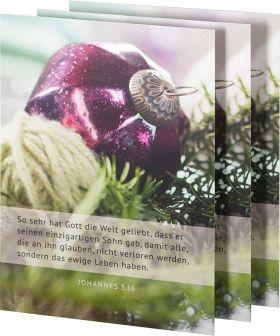 3 Stück Weihnachtspostkarte MATTart Joh 3,16